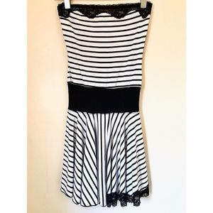 BEBE Stripe w/ Lace Detail Strapless Stretch Dress
